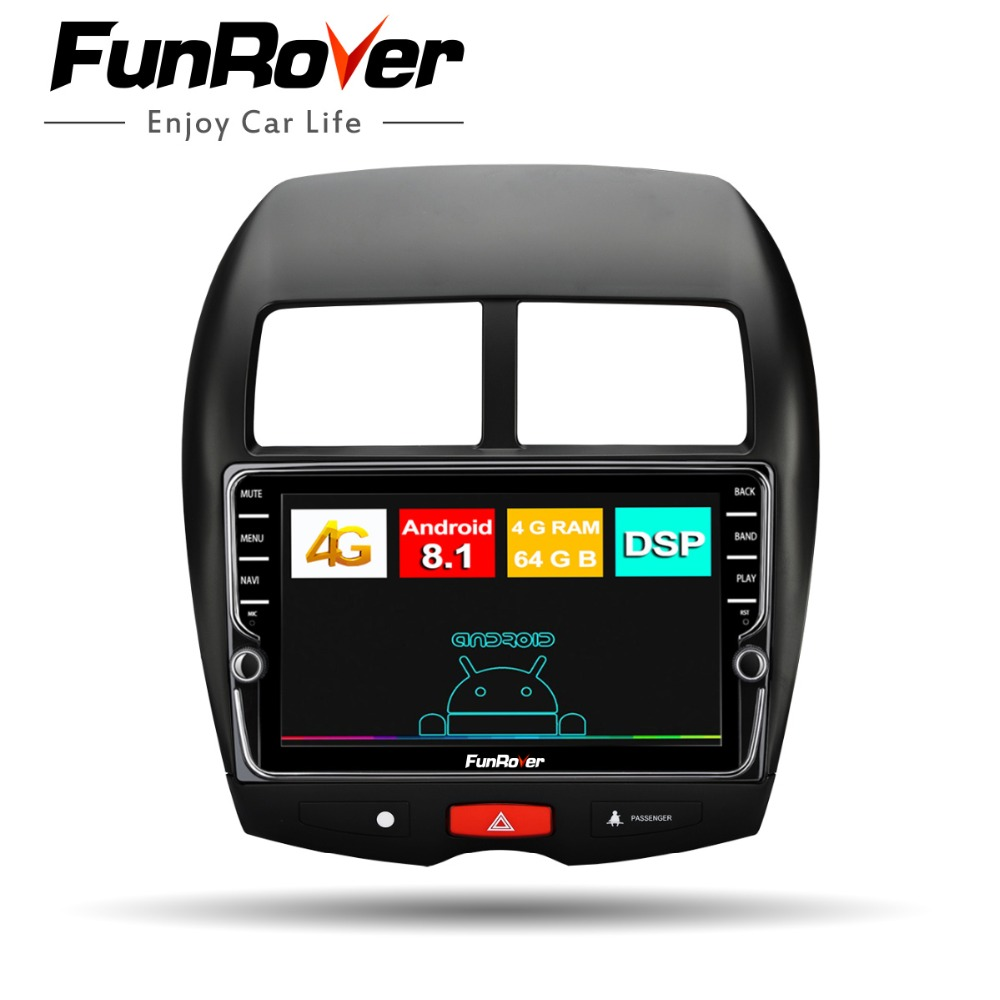 Funrover android 8.1 2 din car radio multimedia dvd For Mitsubishi ASX 2011-2015 Peugeot 40 08 Citroen C4 car gps player 8 core