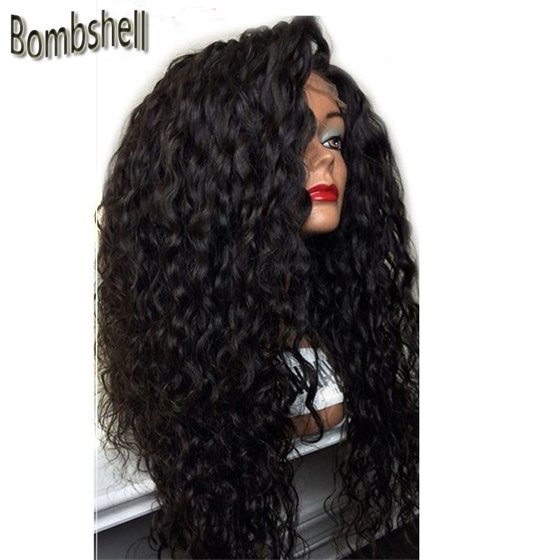 Bombshell 180 Heave Density Loose Curly Black Pink Brown Pink Synthetic Lace Front Wig For Women