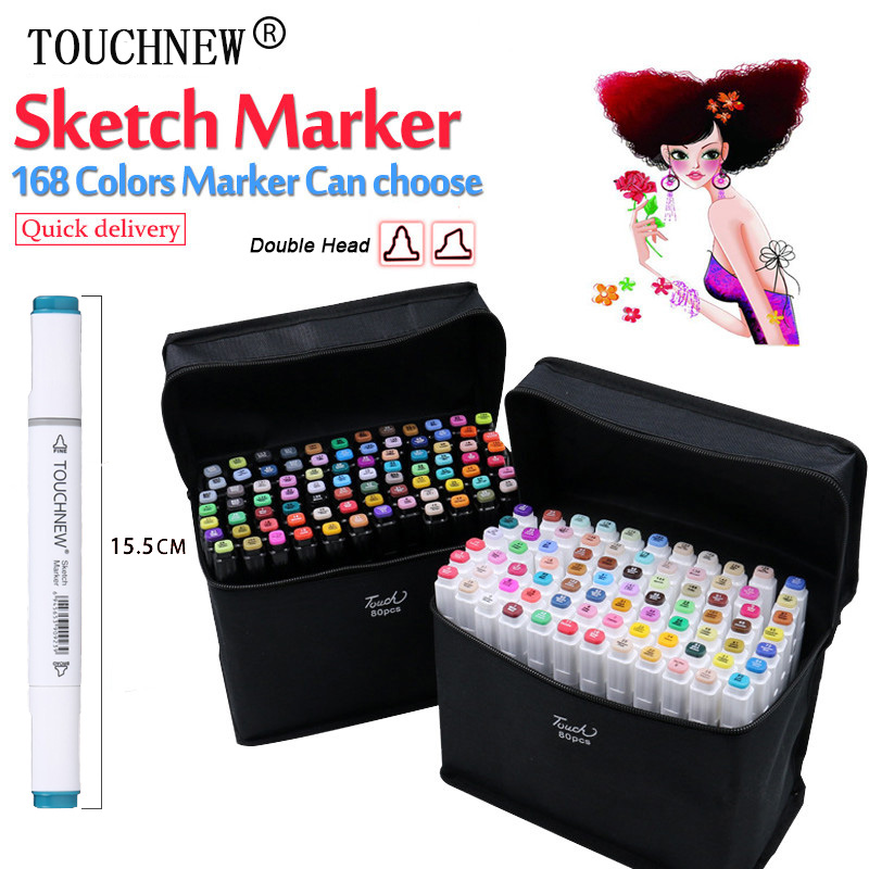 TOUCHNEW 30/40/60/80 Colors Dual Head Art Marker Set Alcohol Sketch Markers Pen for Artist Drawing Manga Design Art Supplies