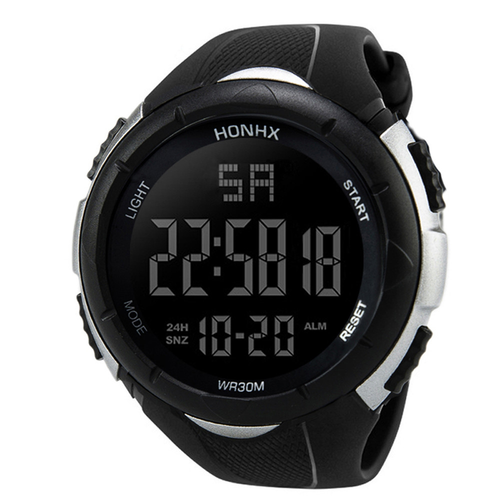 Luxury watch Men wrist watch Analog Digital Military Sport Smart Movement LED Waterproof Band Rubber Wrist Watch 0515