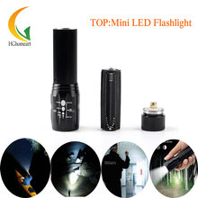 High Power 2000Lumens  Mini Black Torch Zoomable LED Flashlights Torch light For camp Flashlight outdoor lighting