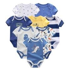 2018 8 шт Костюмы комплекты из хлопка для новорожденных Единорог для маленьких девочек одежда гимнастический костюм детская одежда для маленьких мальчиков одежда платье для девочки боди одежда для новорожденных детка