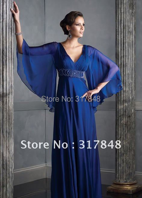 prom dresses with sleeves blue