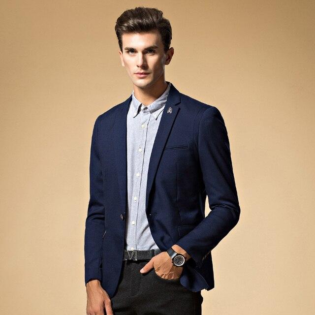 caaf4a7dacbe Мужской пиджак высокого качества костюм куртка корейская мода вязать синий пиджак  мужской повседневная куртка однобортный фасон
