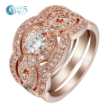 Anti allergy 3 rounds CZ diamond promise engagement ring set rose gold plated fashion crystal wedding jewellery for women