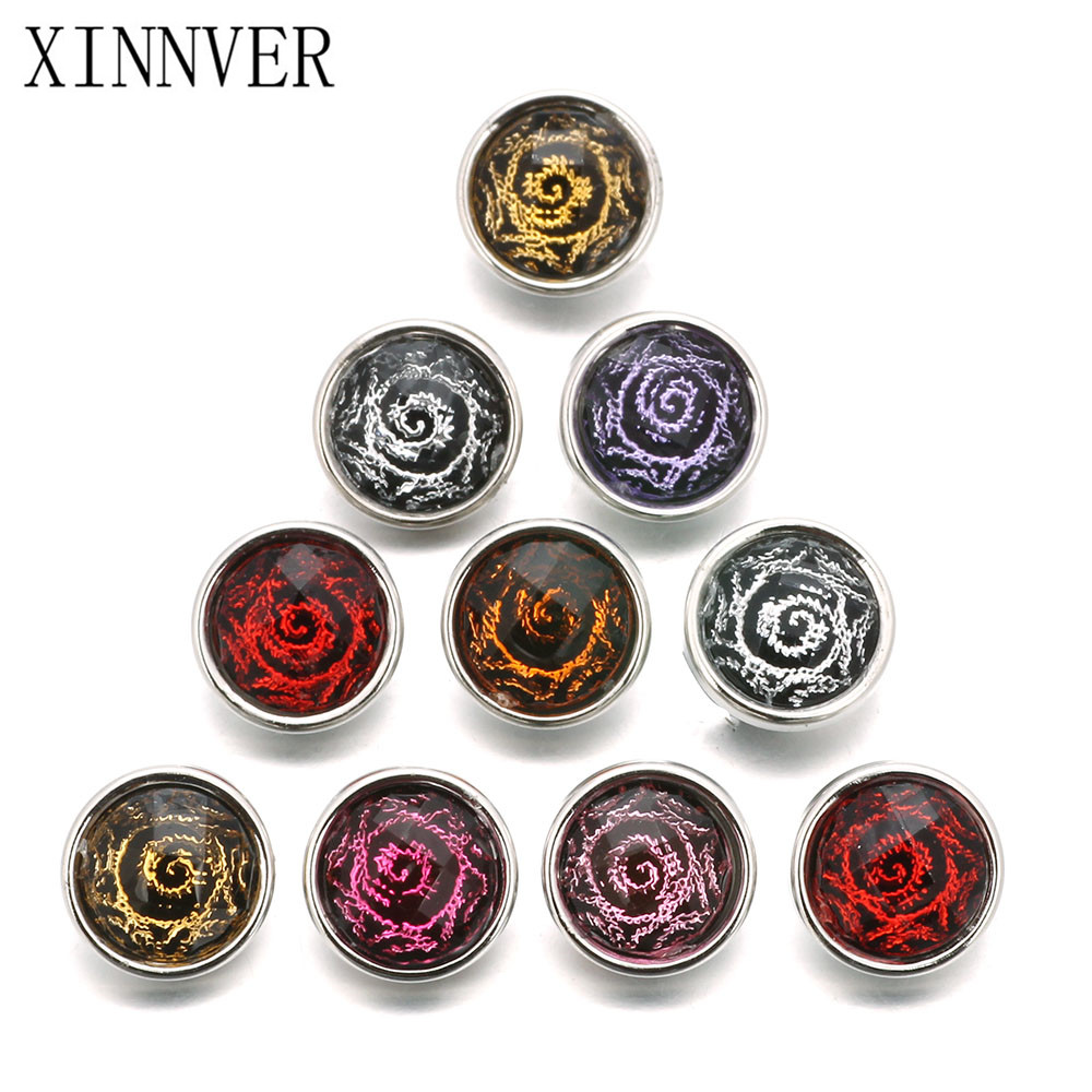 10pcs/lot Mixed Colors & Flower Pattern 12mm Snap Button Jewelry Metal Resin Snap Fit Snap Earrings Bracelet Jewelry