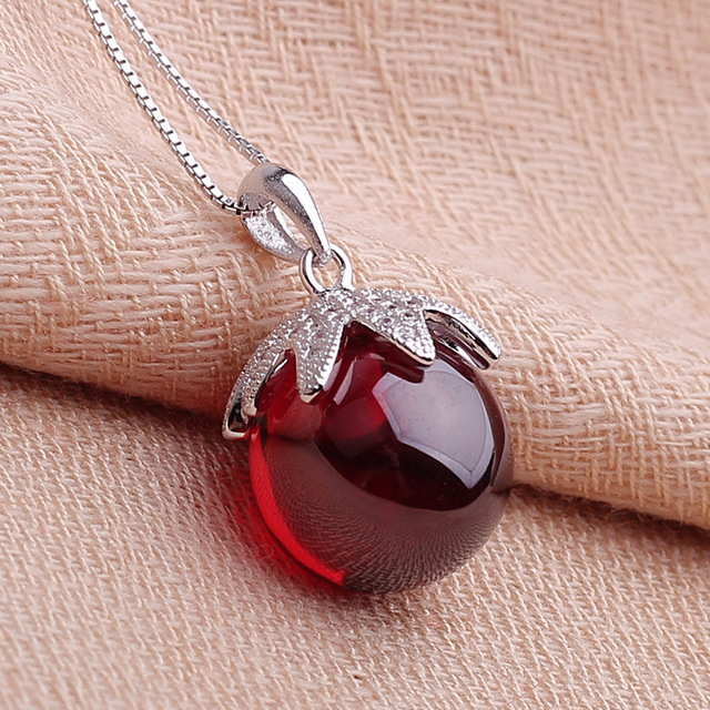 925 Sterling Silver red Pendant women Necklace high-grade Natural semi-precious stones round garnet girls jewelry micro inlays
