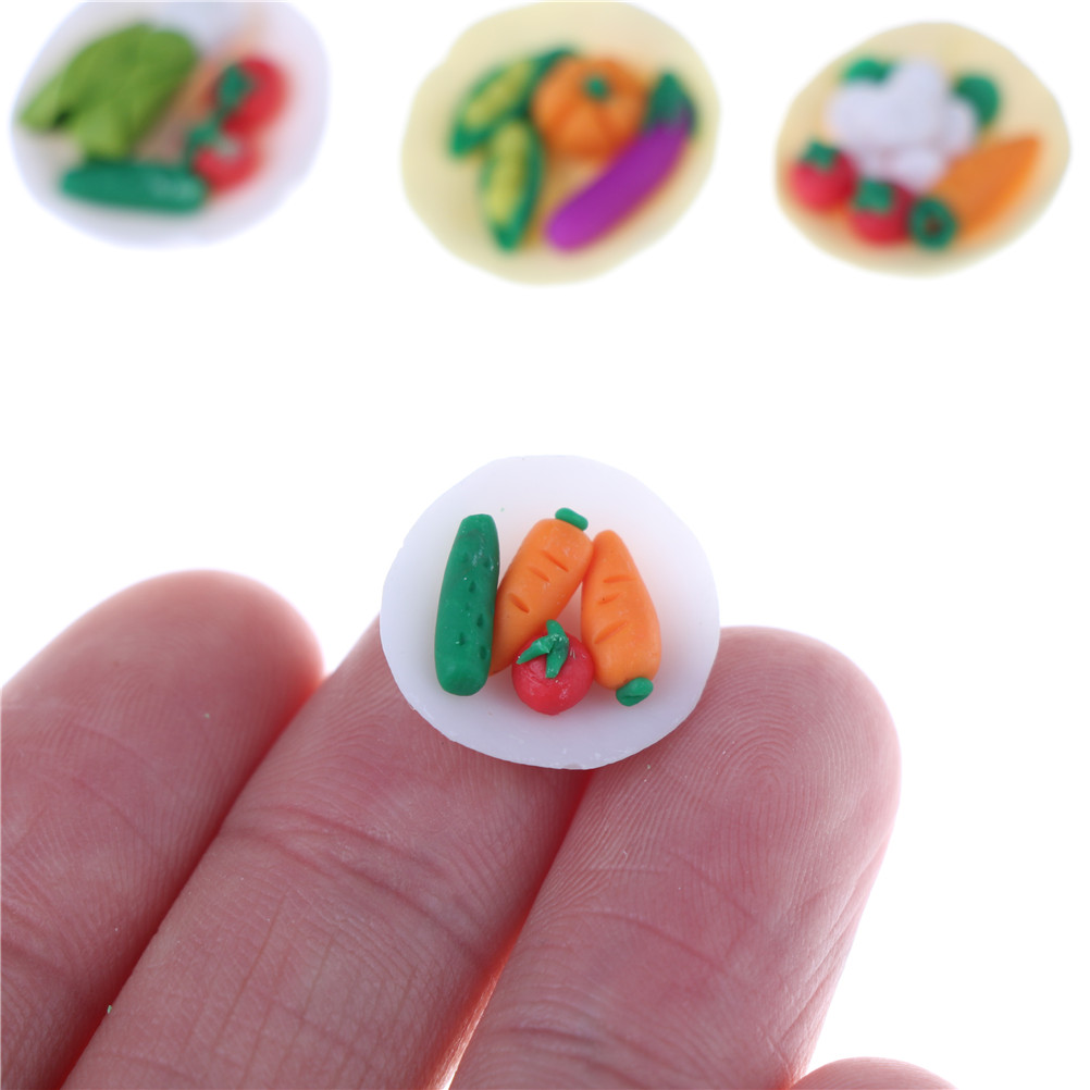 1.5Cm Food Mini Vegetables Dish PlateTable Decor Classic Pretend Play Gifts Presents Dollhouse Miniatures Kitchen Toys