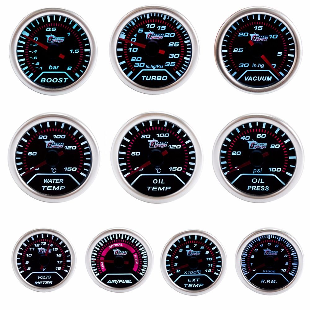 hight resolution of dragon gauge car gauge 2 52mm bar boost turbo psi vacuum water temp oil temp oil press volts air fuel ext rpm black dial face in volt meters from