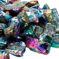 SUNYIK 1/2LB Rainbow Aura Titanium Coated Natural Quartz Rough Stone Drilled Raw Crystal for Jewelry Designing,Tumbling,Cabbing