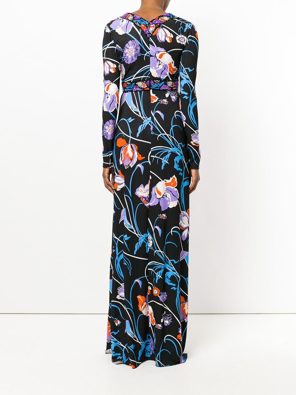 Femme Spandex Nouveau Longues 2018 Xxl Géométrie Luxe Imprimé De À Jersey Robe Manches Soie Concepteur Extensible Spring Maxi 1qq6n8RX