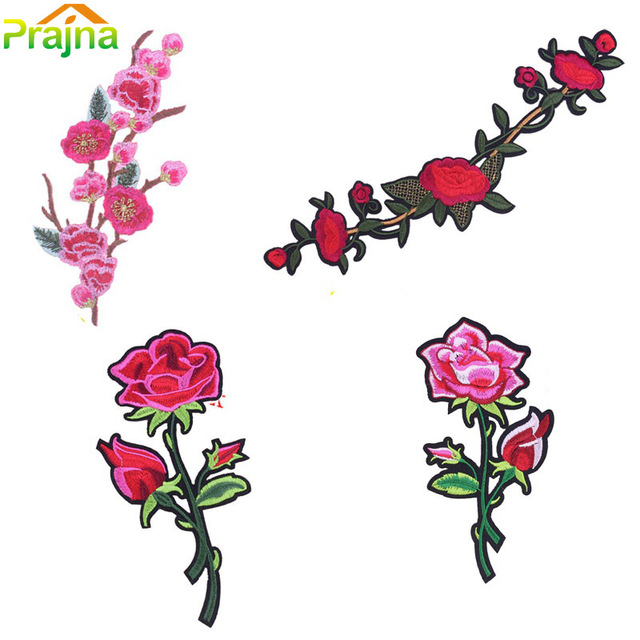 1 pcs diy bordado flor rosa remendo ferro em remendos crachá saia