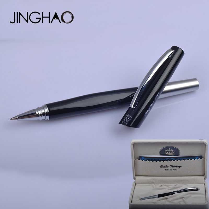 Unique Design Luxury Duke Rollerball Pen Black-silver Metal 0.5mm Black Ink Gift Pens Writing Stationery with an Original Box duke luxury writing business stationery black and gold 0 5mm fountain pen with blue gem on the top metal ink pens free shipping