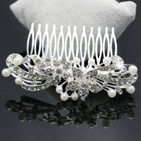 Trendy Hairwear Ladies Silver Rhinestone Bridal Wedding Flower Pearls Crystal Chic Headband Hair Clip Comb Jewelry