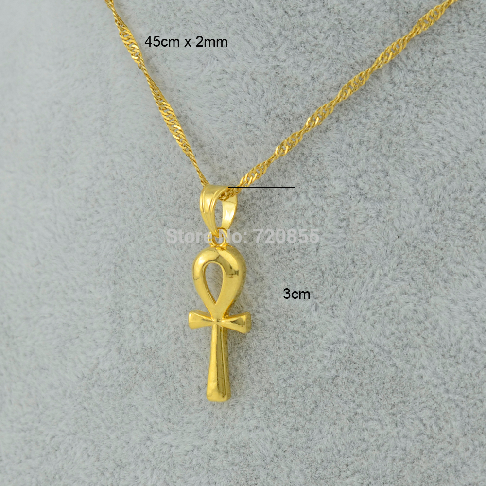 Anniyo Egyptian Ankh Cross Pendant Necklace Chain WomanGold Color