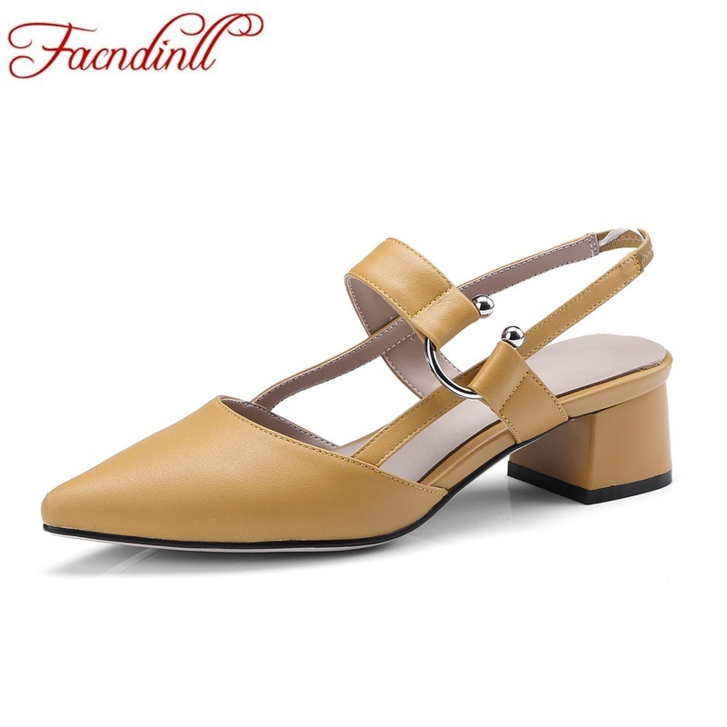 FACNDINLL high qulaity women sandals new summer pointed toe square heel shoes genuine leather casual sandals ladies dress shoes facndinll new women summer sandals 2018 ladies summer wedges high heel fashion casual leather sandals platform date party shoes