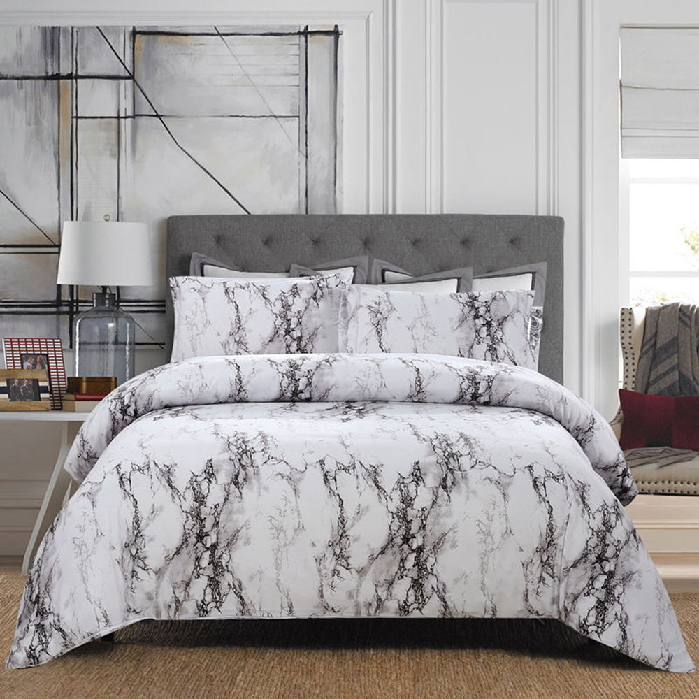 Luxury G Queen White Marble Duvet Cover Sets Bedding Set