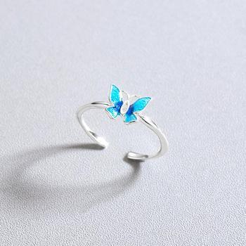 CHENGXUN Delicate Blue Butterfly Rings for Women Lady Finger Rings Opening Design Femme Bijoux Bague Elegant Style Gift 2