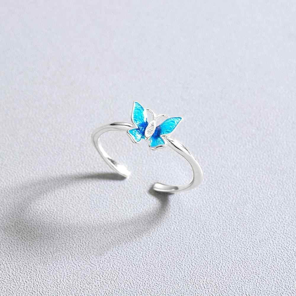 Chengxun Halus Blue Butterfly Cincin untuk Wanita Wanita Jari Cincin Desain Membuka Femme Bijoux Karat Gaya Elegan Hadiah