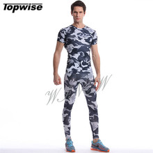 Hot Camouflage Running Set Men Compression Suit T Shirt Fitness Leggings For Running Gym Training Sport Tights Sets Fitness Wear