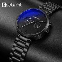 Geeekthink topo marca de luxo relógios quartzo esporte masculino cheio aço inoxidável relógio de pulso casual importado movimento à prova dwaterproof água data