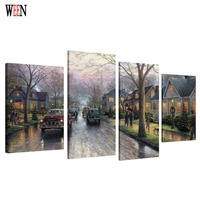 HD Printed 4PC Landscape Canvas Art With Framed Wall Pictures For Living Room Romantic Poster Directly