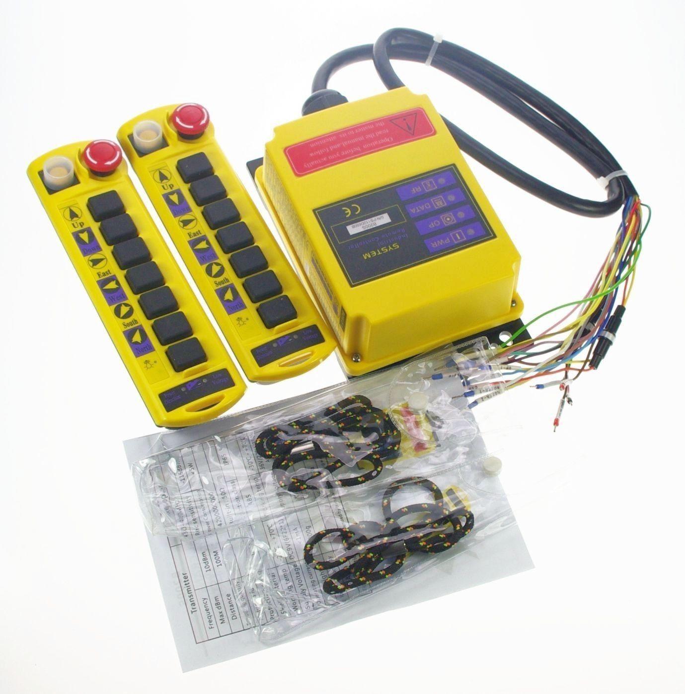 2 Speed 2 Transmitters Control Hoist Crane Radio Remote Control System Controller CE 12V 24V AC/DC 110V 220V 380V,415VAC