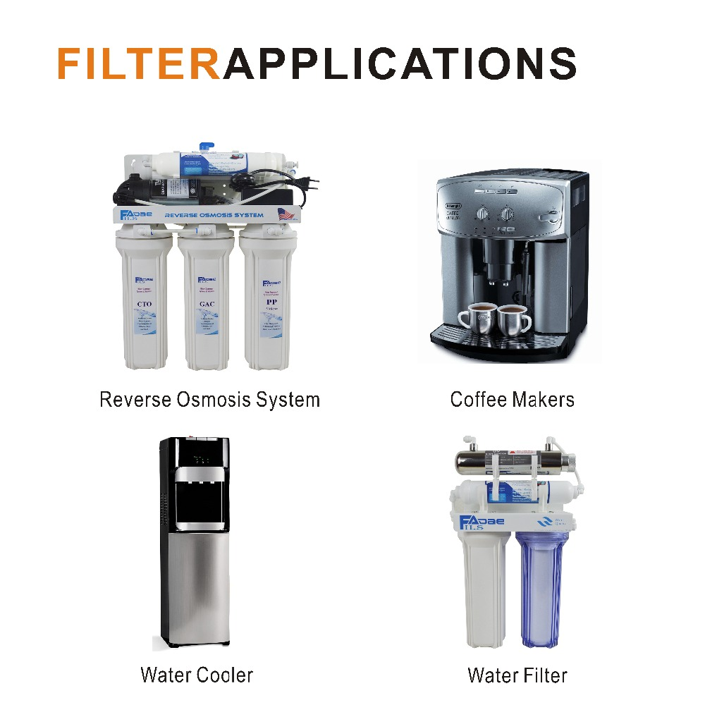 Water Filter Cartridges Inline Filter - Silver Impregnated Carbon, 10 L x 2 OD