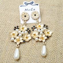 Элегантная мода Позолоченный Барокко Длинные Золотой Цветок Мотаться Серьги Для Женщин Перл Подвеска Свадебные Люстра Pendientes