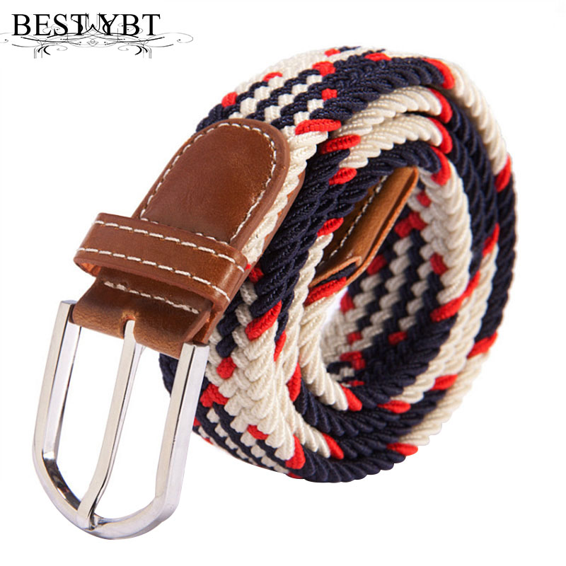 Best YBT Unisex canvas   Belt   Knitted Woven PU Leather Pin Bucket Elastic Solid Color   Belt   Plain Webbing   Belt   Alloy Buckle