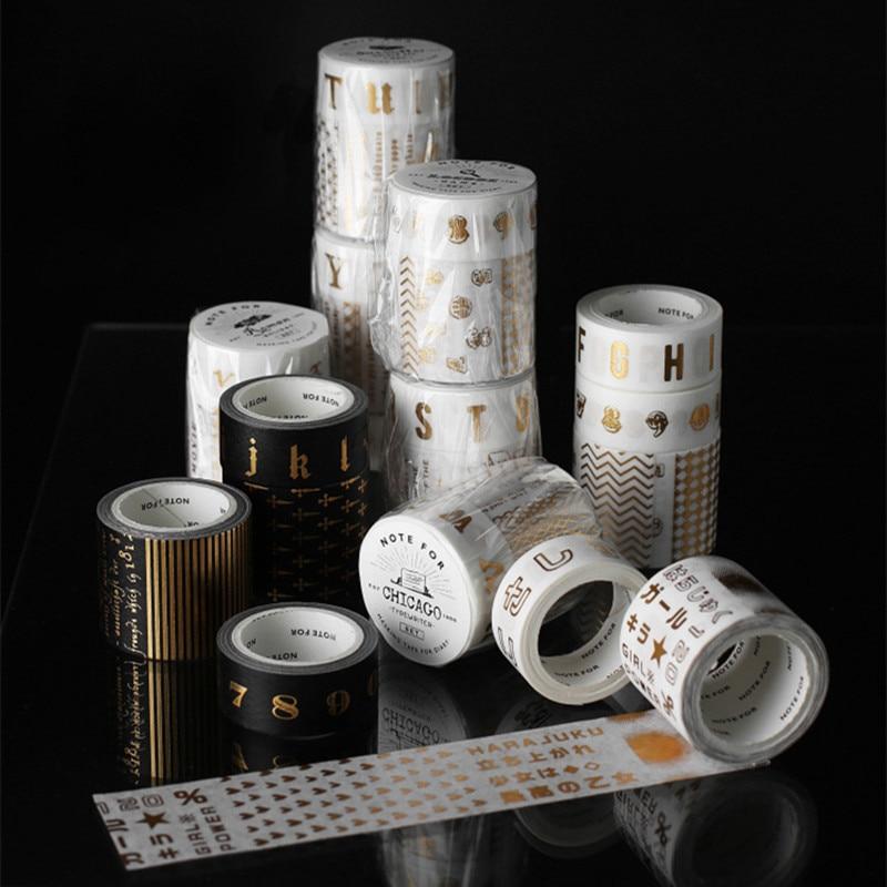 2pcs/pack Alphabet Number Gilding Washi Tape Diy Scrapbooking Sticker Label Masking Tape School Office Supply