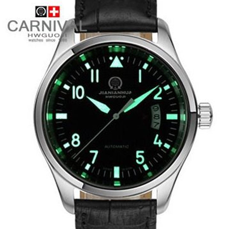 Carnival Casual Automatic Mechanical Watches Leather Strap Waterproof Wristwatches Watch Men Luminous Male Clock reloj hombre