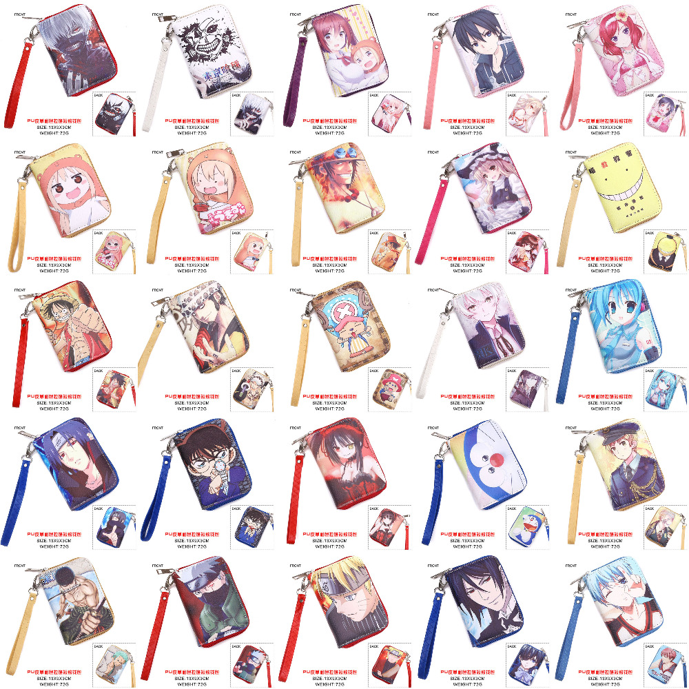 Anime Tokyo Ghoul One Piece Naruto Conan Date A Live Hatsune Miku Sword Art Online Black Butler etc PU Short Wallet WIth Zipper in Wallets from Luggage Bags