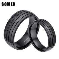 6mm 8mm Black Plated 100 Pure Titanium Ring Matching Wedding Band Promise Rings Sets For Couples