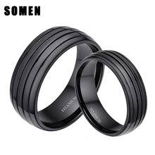 Black Plated 6mm & 8mm 100% Pure Titanium Ring Matching Wedding Band Promise Rings Sets for Couples Men and Women