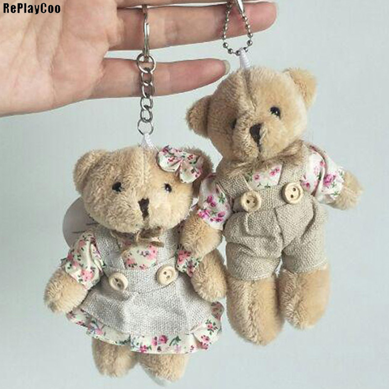 2PCS/LOT Kawaii Teddy Bear&Rabbit Couple Plush Toy Stuffed Animal Soft Doll Bears Stuffed Plush Pendant Wedding Gifts GMR020