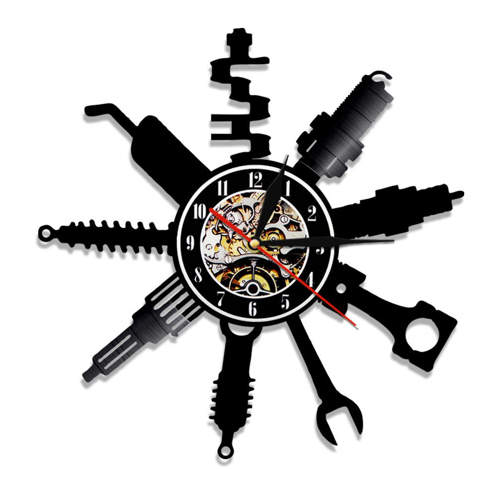 1Piece Garage Wall <font><b>Clock</b></font> Pimp Repairing Tool Vinyl Record Wall <font><b>Clock</b></font> <font><b>Car</b></font> Service <font><b>Car</b></font> <font><b>Wheel</b></font> Wall Watch Home Decor Repairman Gift image