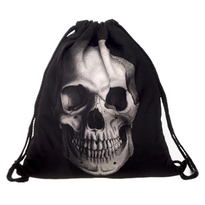 Fashion Black Skull Bag Casual Trekkoord Rugzak Drawstring Bag Backpack Women Harajuku Sports Bag Modis Daily bag