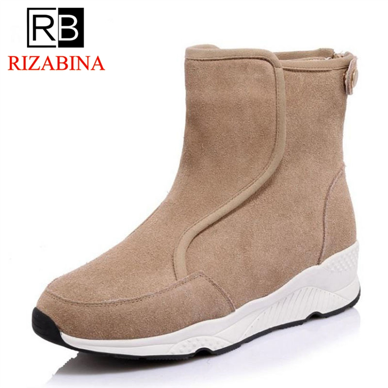 RizaBina Cold Winter Snow Boots Women Real Leather Thick Platform Half Short Winter Boots For Women Warm Fur Botas Size 34-39 women real genuine leather ankle boots half short boots winter warm botas lady footwear leisure shoes r7465 size 34 39