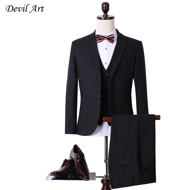 Dhl free shipping wool gray herringbone retro gentleman style custom