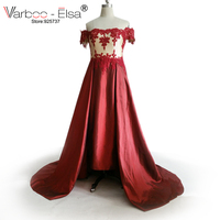 VARBOO_ELSA Arab evening dress Off The Shoulder Sweetheart red Prom party Dress 2017 satin Lace Up Celebrity Dresses