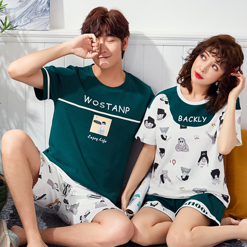 Cute Printing Summer Pyjamas Cotton Couple Pajamas Set Women Loungewear Lover Pyjama Femme Men\'S Sleepwear Home Clothing