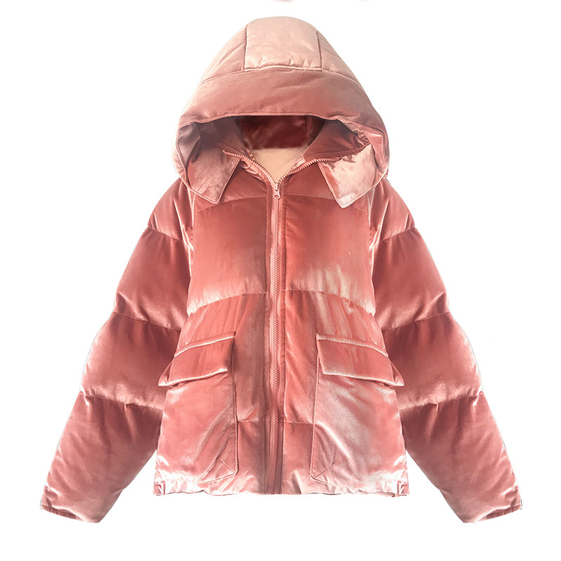 Sweet Pink Velvet Short Cotton Padded Jacket Women Hooded Thick Parka Winter Jacket Warm Fashion Outerwear Chaqueta Mujer TT3476 deck mounted 5 pcs tub faucet brass chrome polish bathtub shower set swivel spout tap