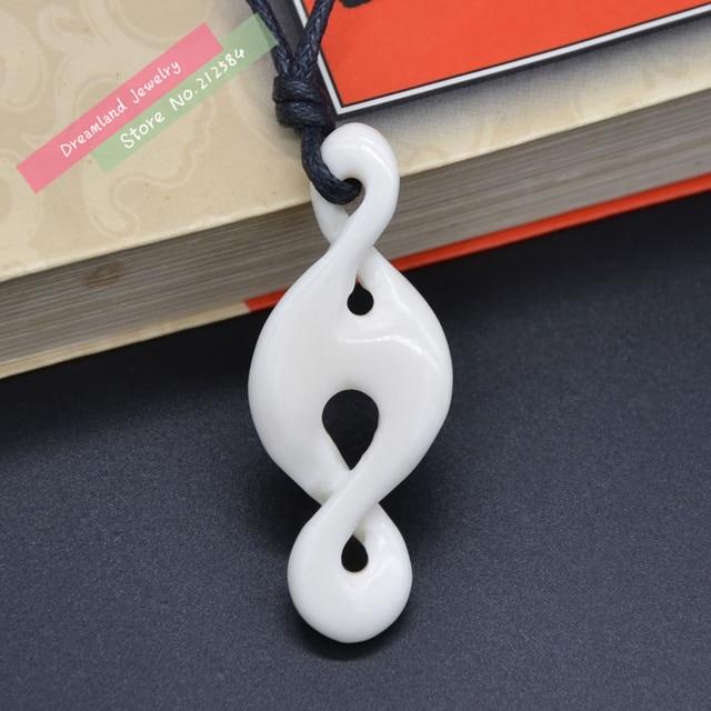 1pc New Zealand Maori Infinity Handmade Carved Yak Bone Twisted