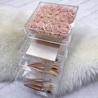 Acrylic Flower Box Rose Boxes with Drawers Make Up Storage Valentine's Day Present Surprise Gift Without Flowers