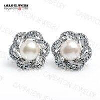 8mm Freshwater Pearl Real 925 Sterling Silver Jewellery Full CZ Bling Bling Flower Stud Earrings
