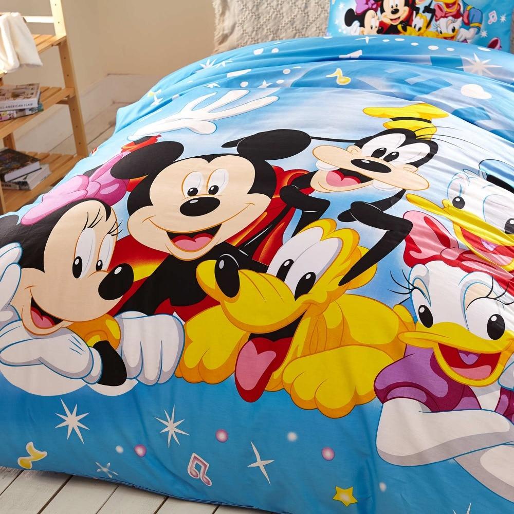 US $72 95 OFF Biru Disney Kartun Mickey Minnie Mouse Donald Duck Konyol Set Tempat Tidur Untuk Anak Anak Dekorasi Kamar Tidur Katun Selimut Twin