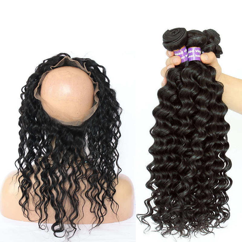 Deep Wave 360 Lace Frontal Closure With Bundles Brazilian Hair Bundles Hair Extensions Pre Plucked With Baby Hair Cara Remy