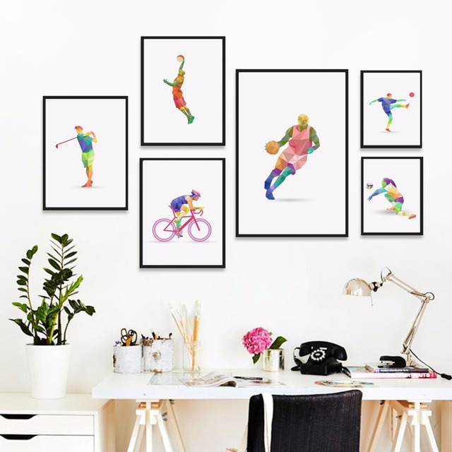 Geometry Sports Abstract Sports Ski Football Basketball Print Poster Canvas  Painting Wall Art Picture Home Decor