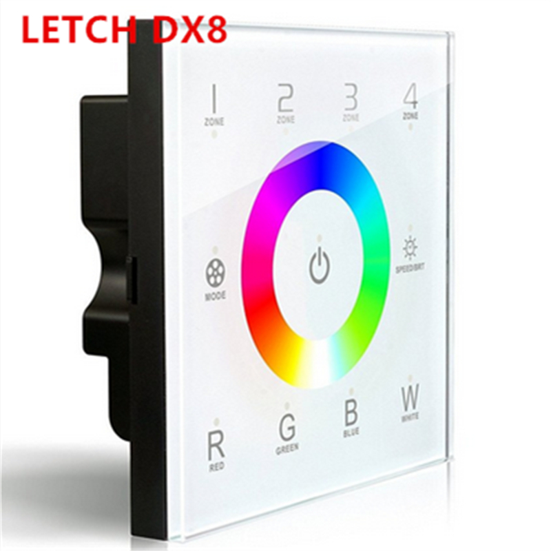 LTECH DX8 rgbw touch panel led controller 4 Zones control RF 2.4G+DMX512 master RGBW wall mounted,for rgbw strip led panel led 256 piezas 5mm 4 lentes rojo verde azul blanco luces led efectos 7 dmx512 sonido maestro esclavo control iluminacion eventos